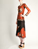 Jean Paul Gaultier Vintage Black & Rust Floral Mesh Dress - Amarcord Vintage Fashion  - 4