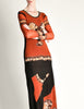 Jean Paul Gaultier Vintage Black & Rust Floral Mesh Dress - Amarcord Vintage Fashion  - 2