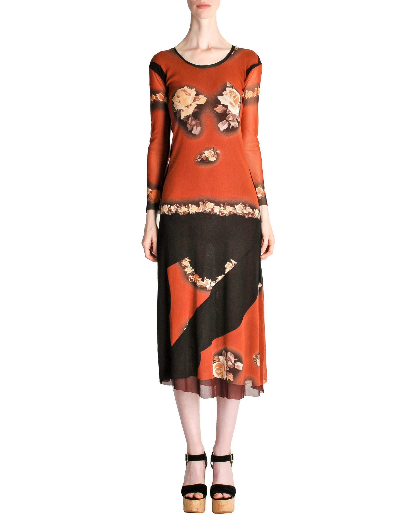Jean Paul Gaultier Vintage Black & Rust Floral Mesh Dress - Amarcord Vintage Fashion  - 1