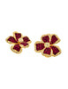Jarin Kasi Vintage Gold Magenta Rhinestone Flower Earrings