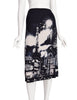 Jean Paul Gaultier Vintage Paris Eiffel Tower City Of Lights Print Stretch Mesh Skirt