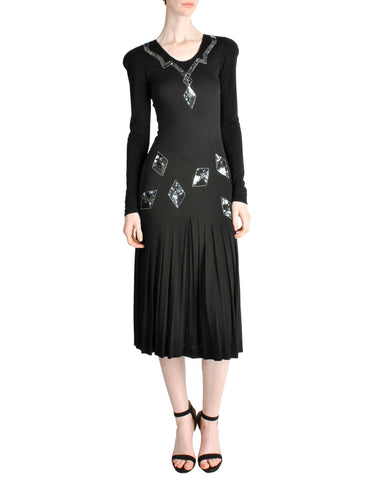Jean Muir Vintage Black Pleated Sequin Dress