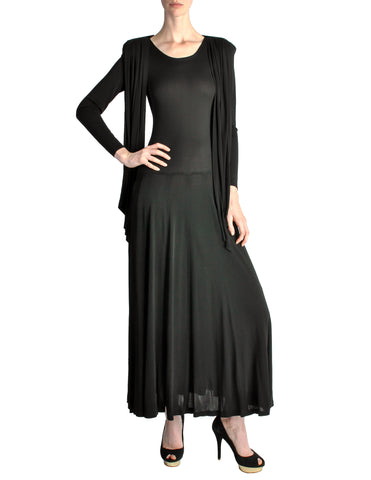 Jean Muir Vintage Black Slinky Shoulder Drape Panel Dress