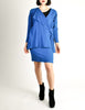 Jean Muir Vintage Cobalt Blue Wool Crepe Draping Wrap Jacket and Skirt Set Ensemble - Amarcord Vintage Fashion  - 4