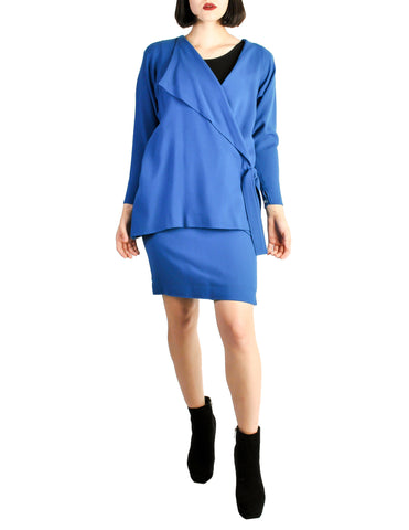 Jean Muir Vintage Cobalt Blue Wool Crepe Draping Wrap Jacket and Skirt Set Ensemble