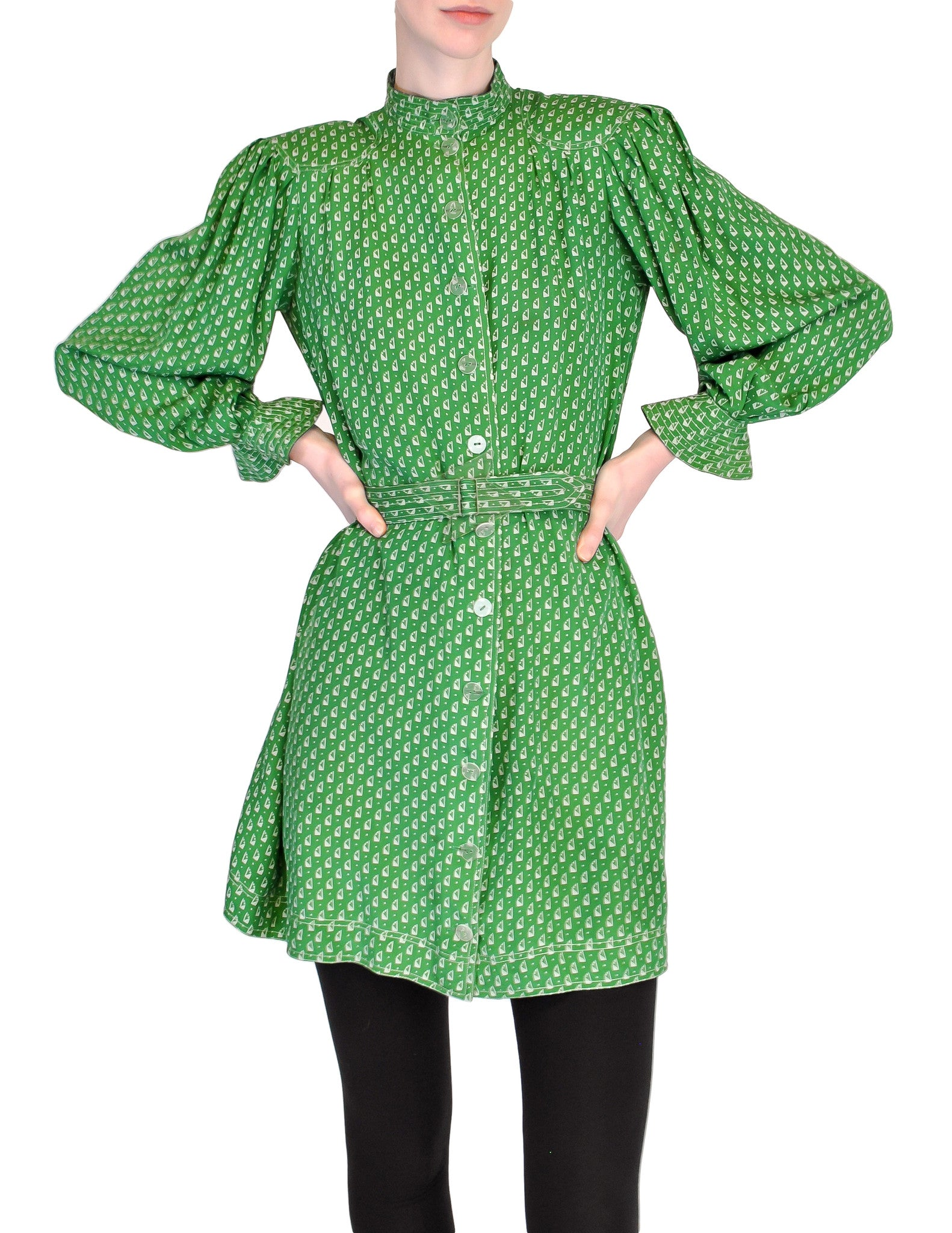 Jean Muir Vintage Green Geometric Button Up Tunic Dress - Amarcord Vintage Fashion  - 1