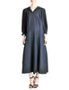 Jean Muir Vintage Navy Blue Moire Dress - Amarcord Vintage Fashion  - 1