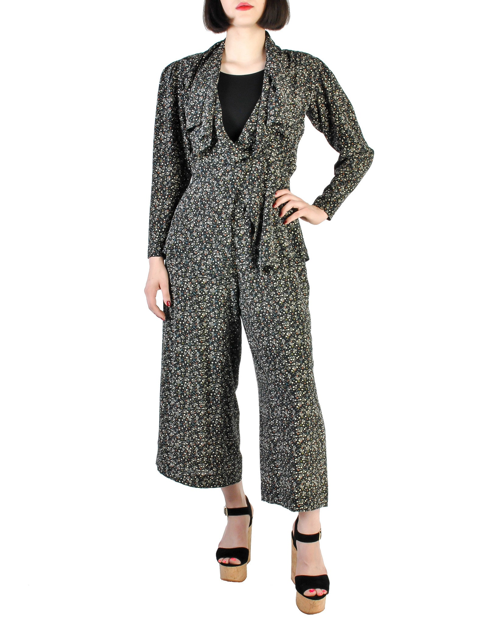 Jean Muir Vintage Polka Dot Silk Draping Jacket and Pants Ensemble Set - Amarcord Vintage Fashion  - 1