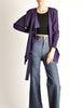 Jean Muir Vintage Purple Wool Crepe Draping Wrap Jacket - Amarcord Vintage Fashion  - 4