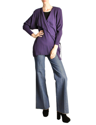 Jean Muir Vintage Purple Wool Crepe Draping Wrap Jacket
