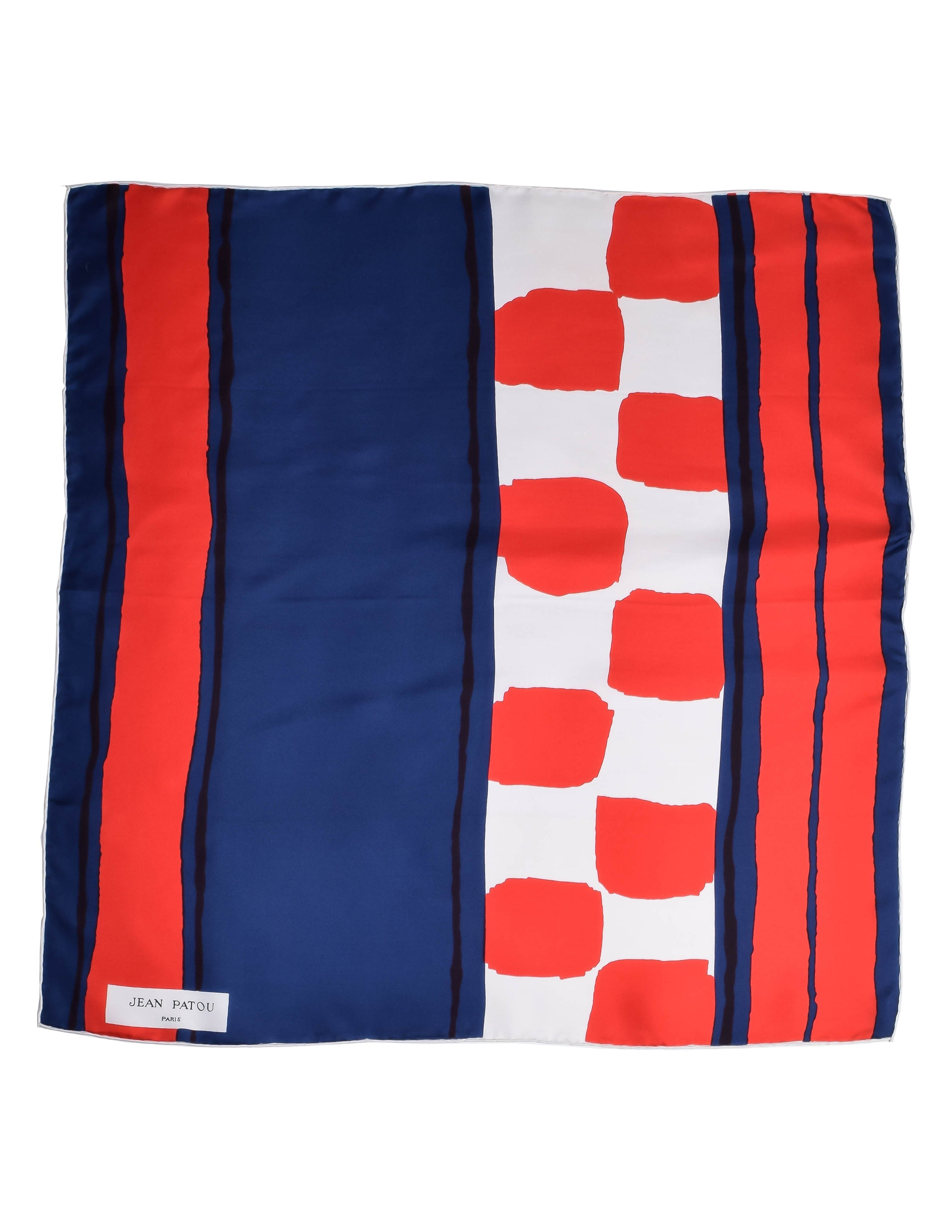 Jean Patou Vintage Red White and Blue Silk Scarf