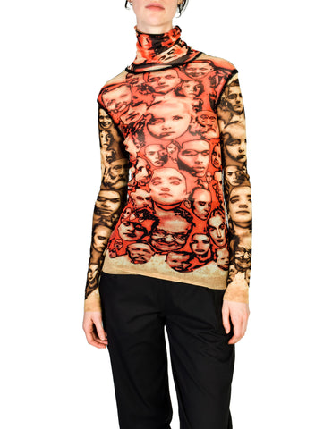 Jean Paul Gaultier Vintage Iconic Sheer Mesh Face Print Turtleneck Shirt Top