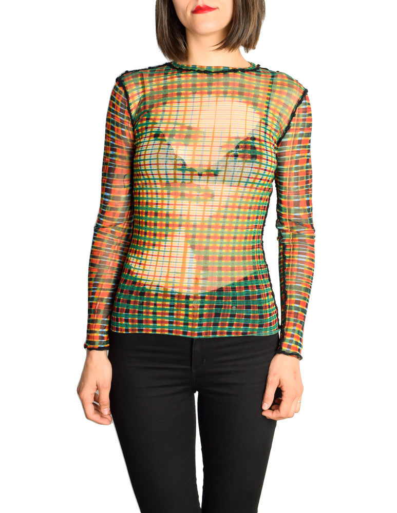 Jean Paul Gaultier Vintage Iconic Sheer Mesh Plaid Face Print Shirt Top - Amarcord Vintage Fashion  - 1