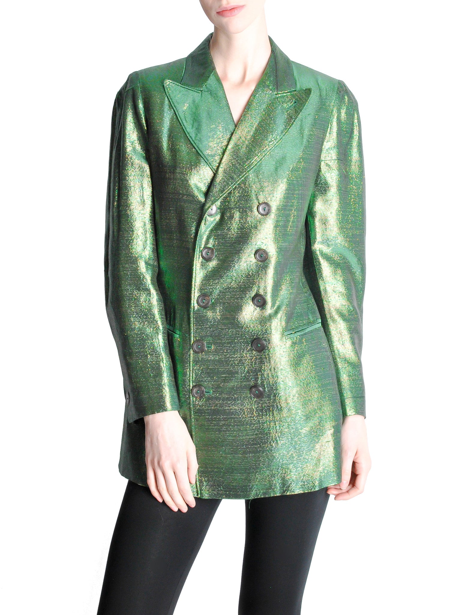 Jean Paul Gaultier Vintage Metallic Green Jacket - Amarcord Vintage Fashion  - 1