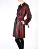 Jean Paul Gaultier Vintage Metallic Maroon Alligator Print Trench Coat - Amarcord Vintage Fashion  - 6