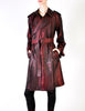 Jean Paul Gaultier Vintage Metallic Maroon Alligator Print Trench Coat - Amarcord Vintage Fashion  - 2