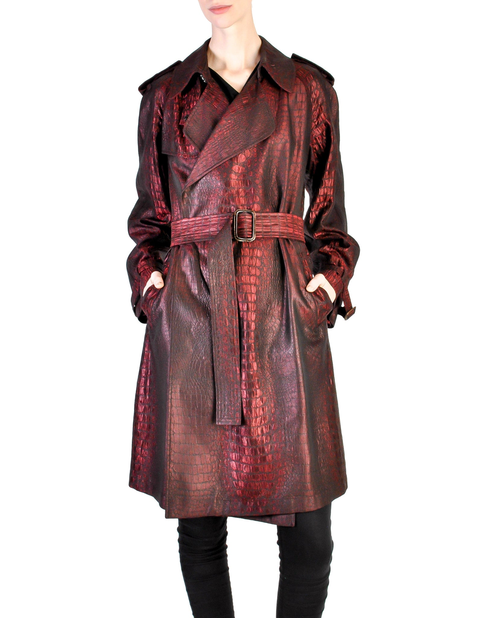 Jean Paul Gaultier Vintage Metallic Maroon Alligator Print Trench Coat - Amarcord Vintage Fashion  - 1