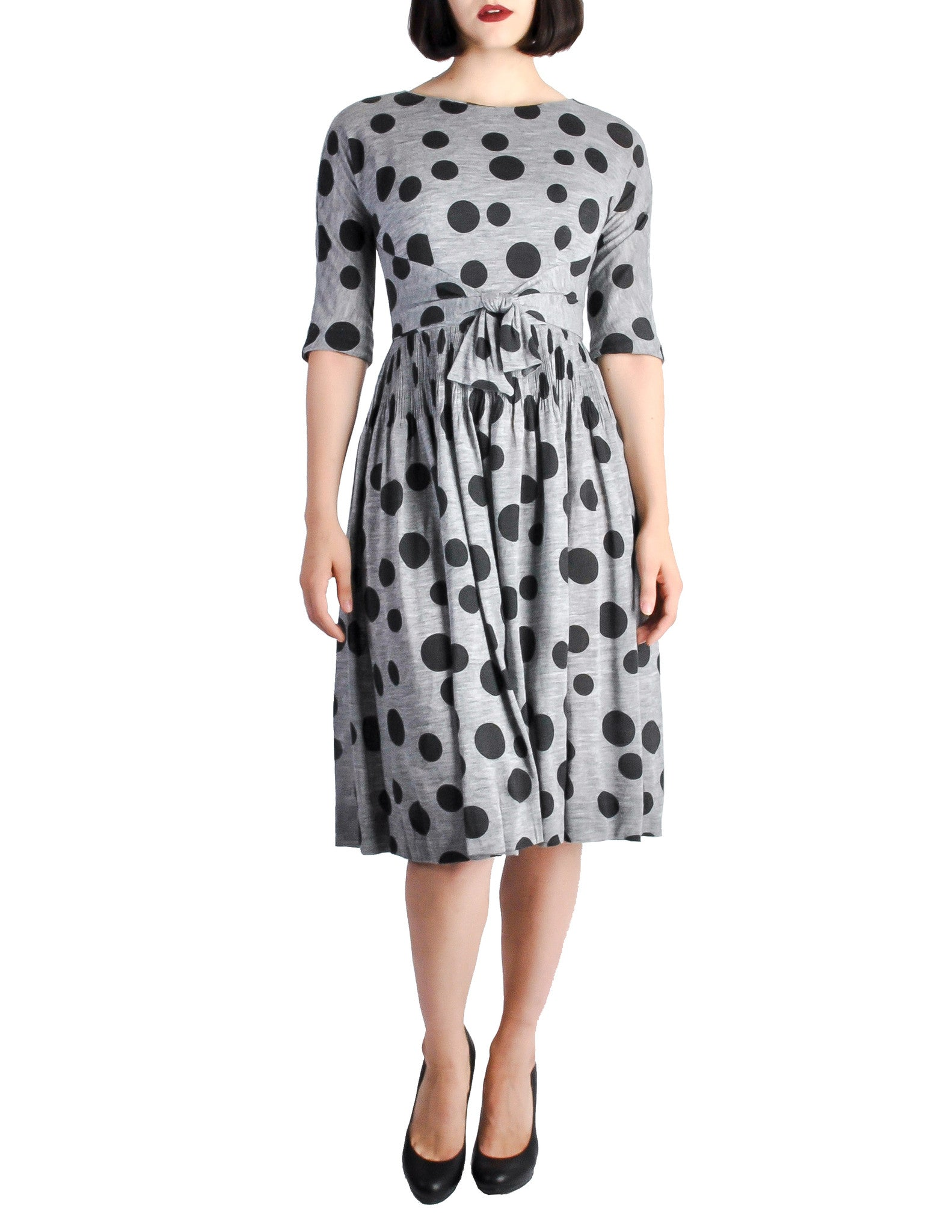 Jerry Gilden Vintage 1950s Heather Grey & Black Polka Dot Dress - Amarcord Vintage Fashion  - 1