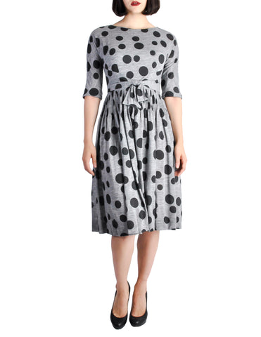 Jerry Gilden Vintage 1950s Heather Grey & Black Polka Dot Dress