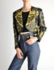 Jean-Claude Jitrois Vintage Genie Bottle Black & Gold Cropped Leather Jacket - Amarcord Vintage Fashion  - 2