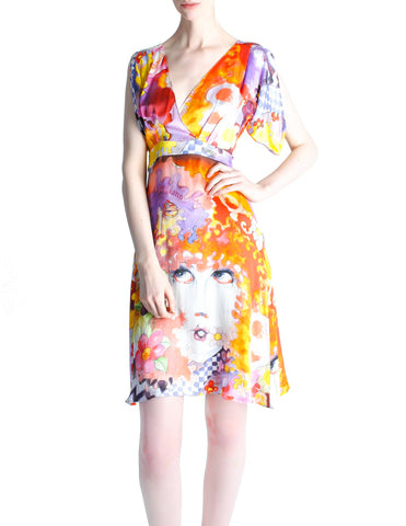 Galliano Vintage Colorful Silk Face Dress