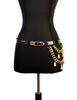 Judith Leiber Vintage Black Crocodile and Gold Chain Charm Belt