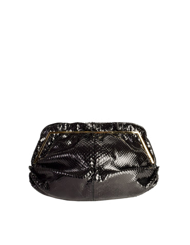 Judith Leiber Vintage Black Gathered Snakeskin Clutch Shoulder Bag