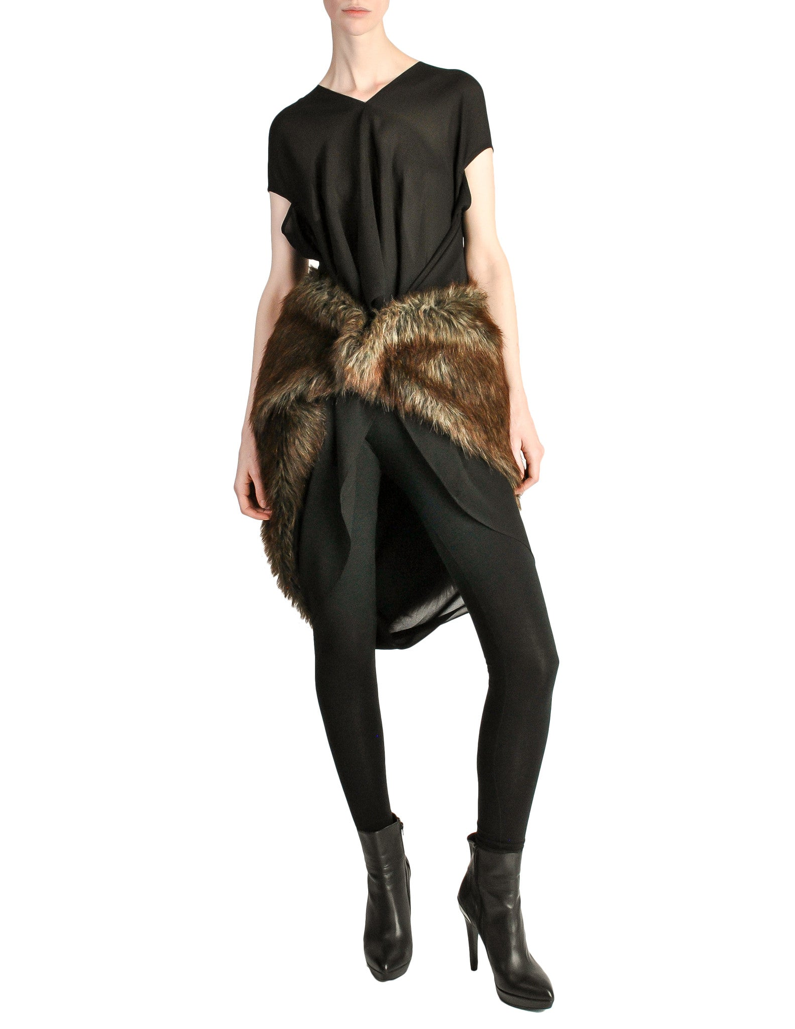 Junya Watanabe Comme des Garcons Black Sheer Brown Fur Dress - Amarcord Vintage Fashion  - 1