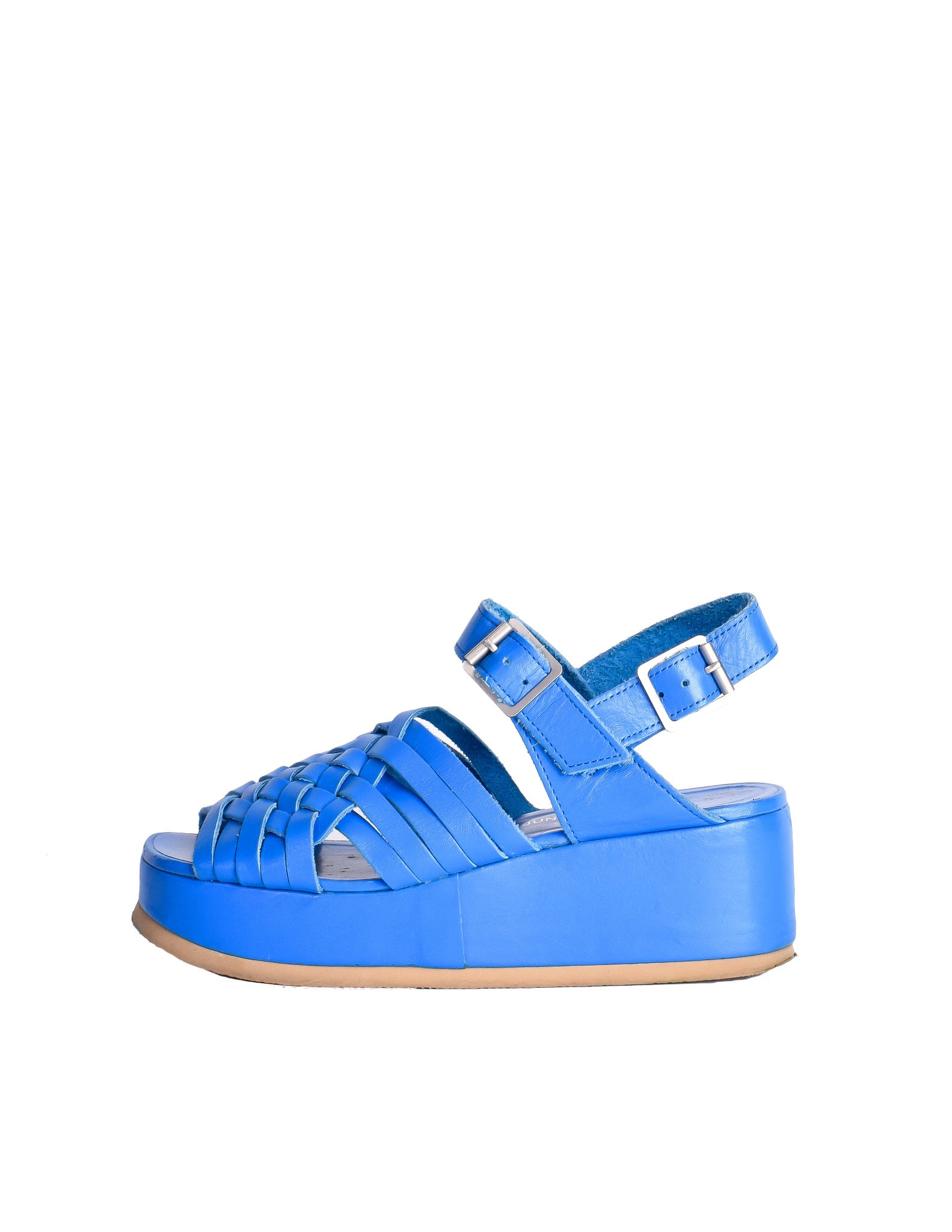 Junya Watanabe Comme des Garçons Vintage Blue Woven Leather Platform Sandals - Amarcord Vintage Fashion  - 1
