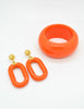 Kenneth Jay Lane Vintage Orange Bracelet and Earring Set - Amarcord Vintage Fashion  - 3