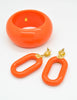 Kenneth Jay Lane Vintage Orange Bracelet and Earring Set - Amarcord Vintage Fashion  - 2