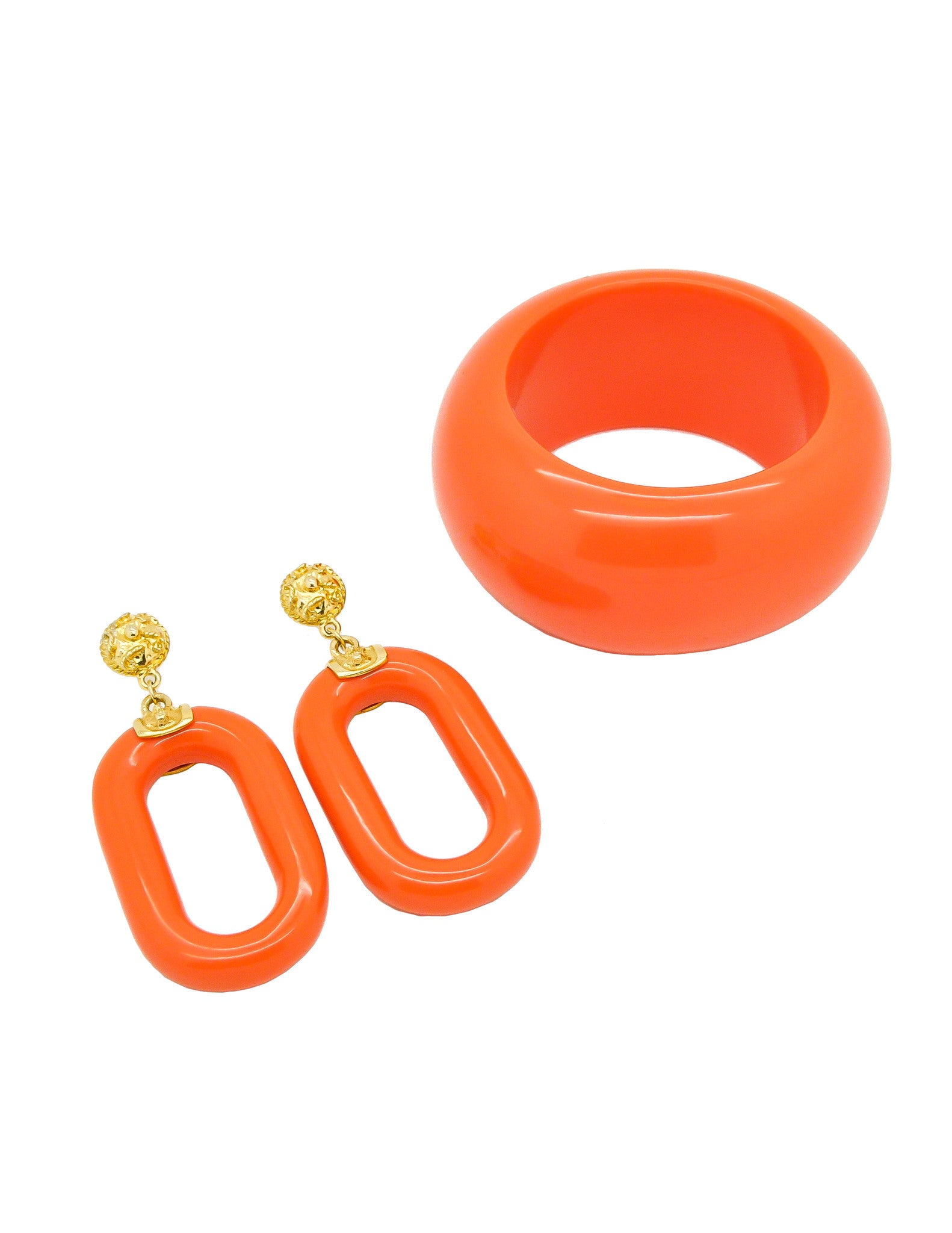 Kenneth Jay Lane Vintage Orange Bracelet and Earring Set - Amarcord Vintage Fashion  - 1
