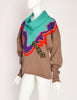 Kansai Yamamoto Vintage Multicolor Graphic Embroidered Applique Cowl Knit Sweater
