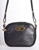 Karl Lagerfeld Vintage Black Leather Gold Logo Shoulder Bag