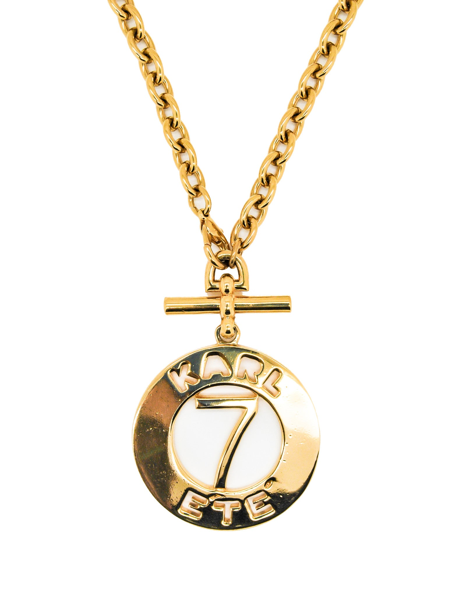 Karl Lagerfeld Vintage Gold Karl 7 ETE Circle Necklace - Amarcord Vintage Fashion  - 1