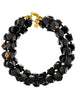 Karl Lagerfeld Vintage Black Beaded Triple Row Choker Necklace - Amarcord Vintage Fashion  - 1