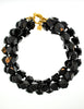 Karl Lagerfeld Vintage Black Beaded Triple Row Choker Necklace - Amarcord Vintage Fashion  - 3