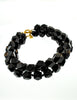 Karl Lagerfeld Vintage Black Beaded Triple Row Choker Necklace - Amarcord Vintage Fashion  - 5