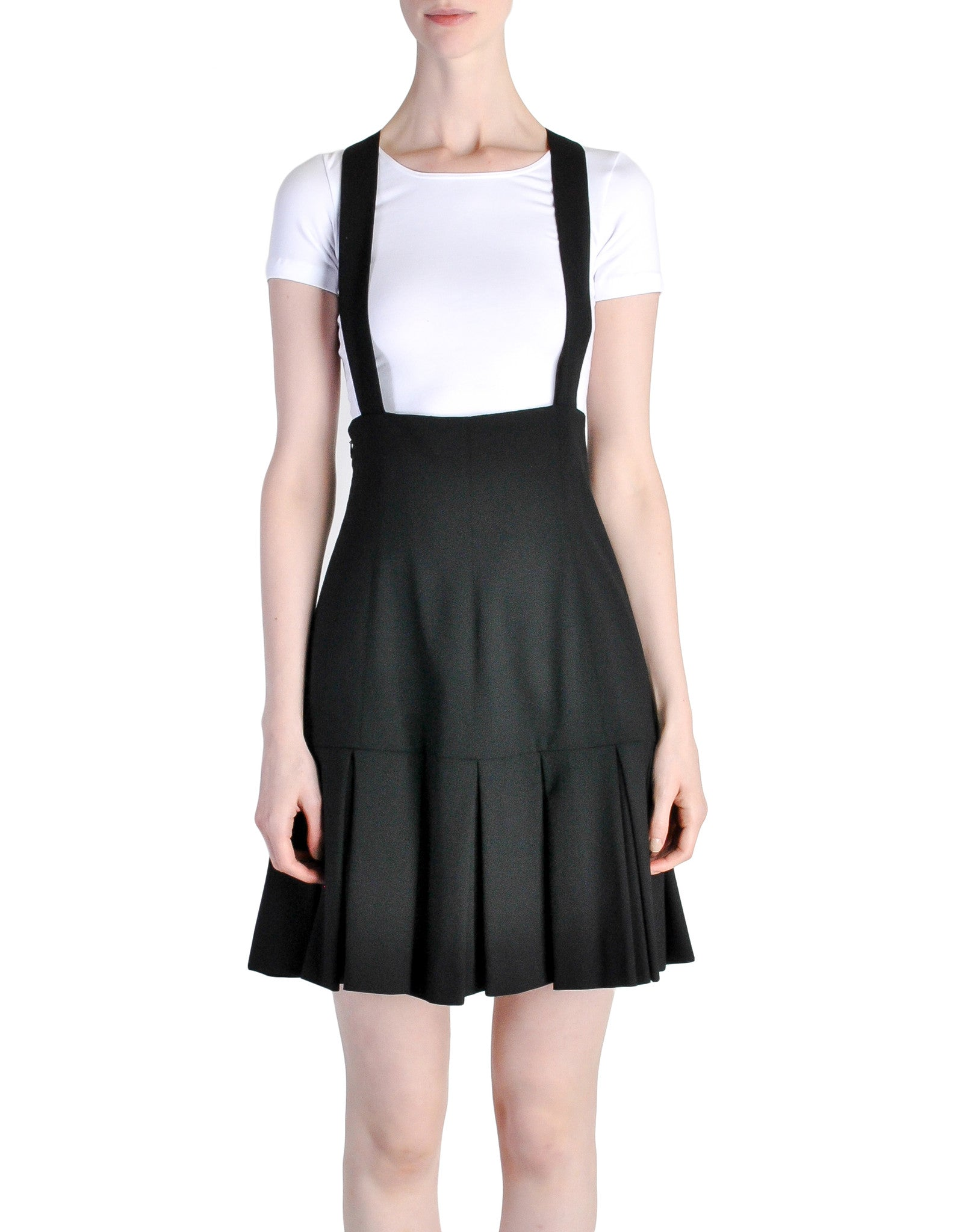 Karl Lagerfeld Vintage Black Pleated Suspender Skirt - Amarcord Vintage Fashion  - 1