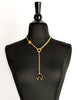 Karl Lagerfeld Vintage Crescent Moon Gold Lariat Necklace - Amarcord Vintage Fashion  - 2
