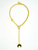 Karl Lagerfeld Vintage Crescent Moon Gold Lariat Necklace - Amarcord Vintage Fashion  - 4