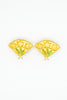 Karl Lagerfeld Vintage Gold Fan Earrings - Amarcord Vintage Fashion  - 6