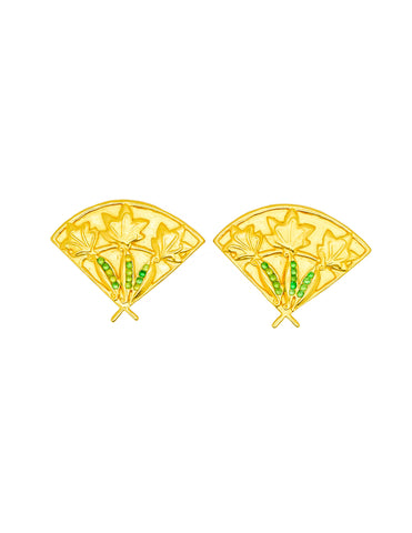 Karl Lagerfeld Vintage Gold Fan Earrings