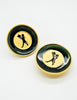 Karl Lagerfeld Vintage Serveur Enamel Disk Earrings - Amarcord Vintage Fashion  - 2
