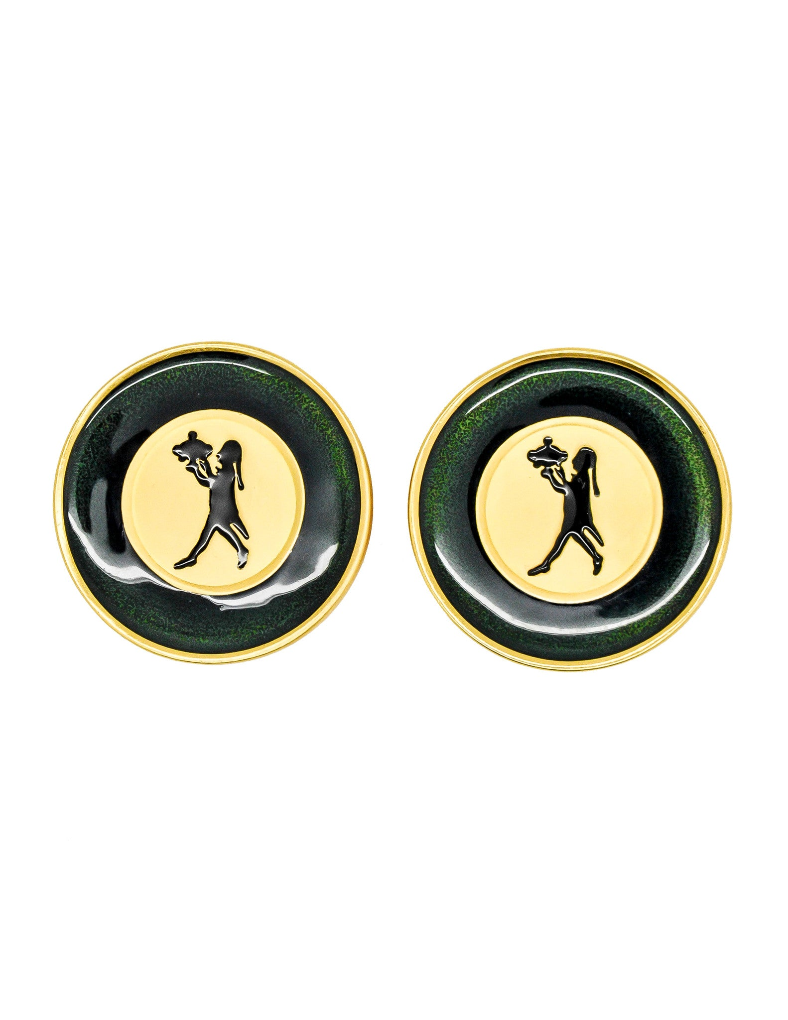 Karl Lagerfeld Vintage Serveur Enamel Disk Earrings - Amarcord Vintage Fashion  - 1