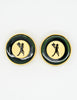 Karl Lagerfeld Vintage Serveur Enamel Disk Earrings - Amarcord Vintage Fashion  - 4