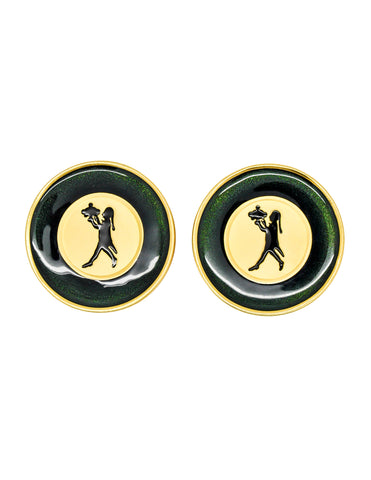 Karl Lagerfeld Vintage Serveur Enamel Disk Earrings
