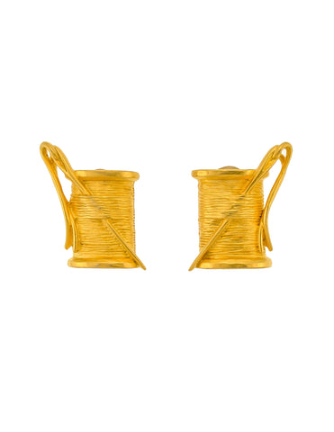 Karl Lagerfeld Vintage Needle & Thread Spool Earrings