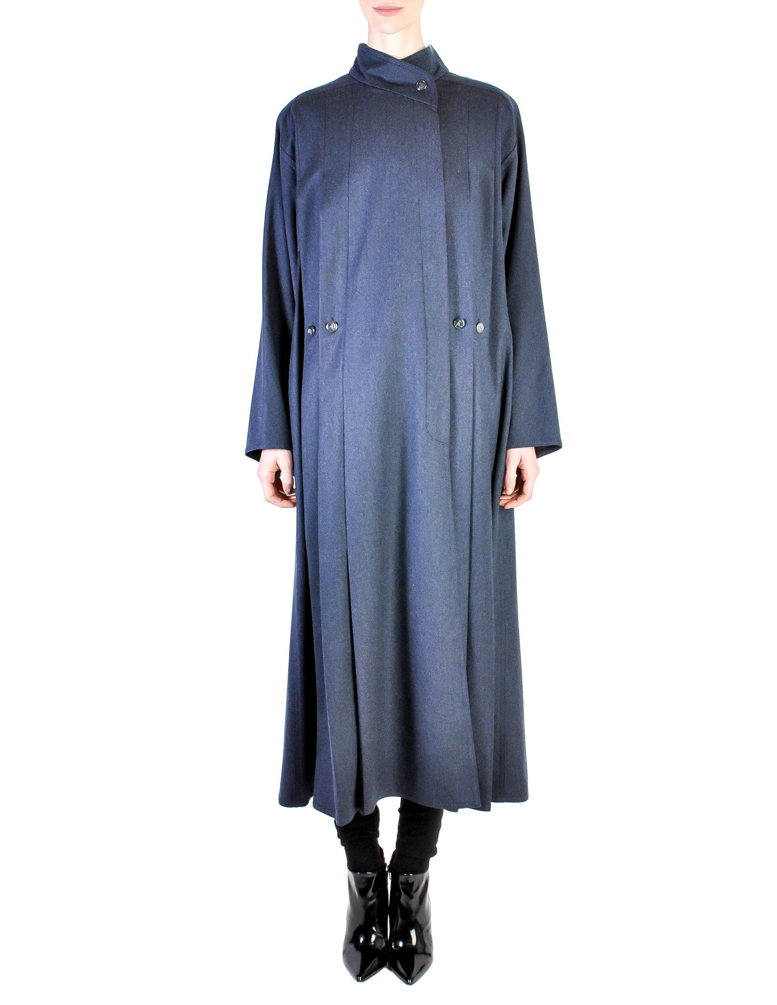 Karl Lagerfeld Vintage Blue Wool Pleated Panel Coat - Amarcord Vintage Fashion  - 1
