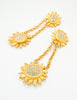 Karl Lagerfeld Vintage Gold Rhinestone Sunflower Earrings - Amarcord Vintage Fashion  - 2